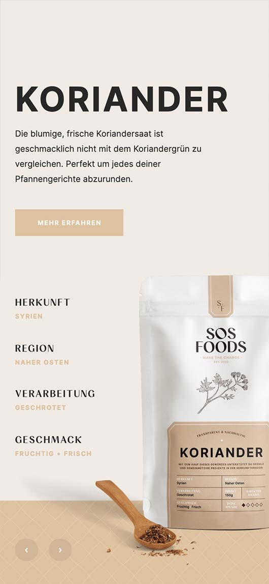 SOS Foods: Webdesign of product page, Coriander, Mobile breakpoint