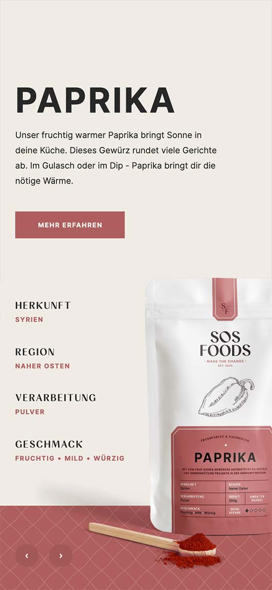 SOS Foods: Webdesign of product page, Paprika, Mobile breakpoint