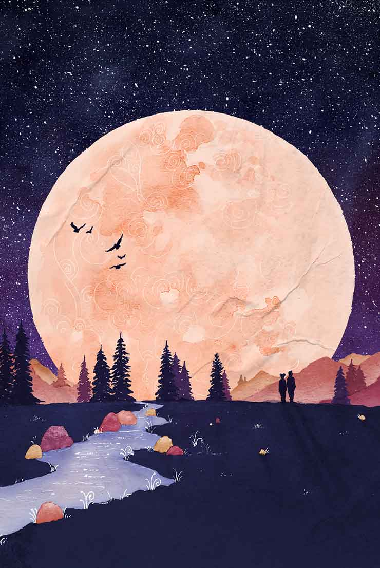 KAYAM website: Aquarelle painting of a large moon, shining on a mystical landscape with mountains, trees and a river