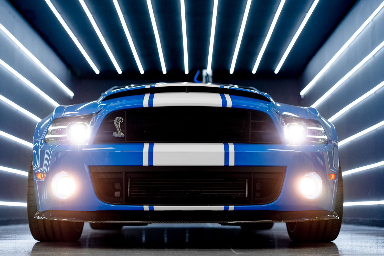 The front of a blue Mustang super snake