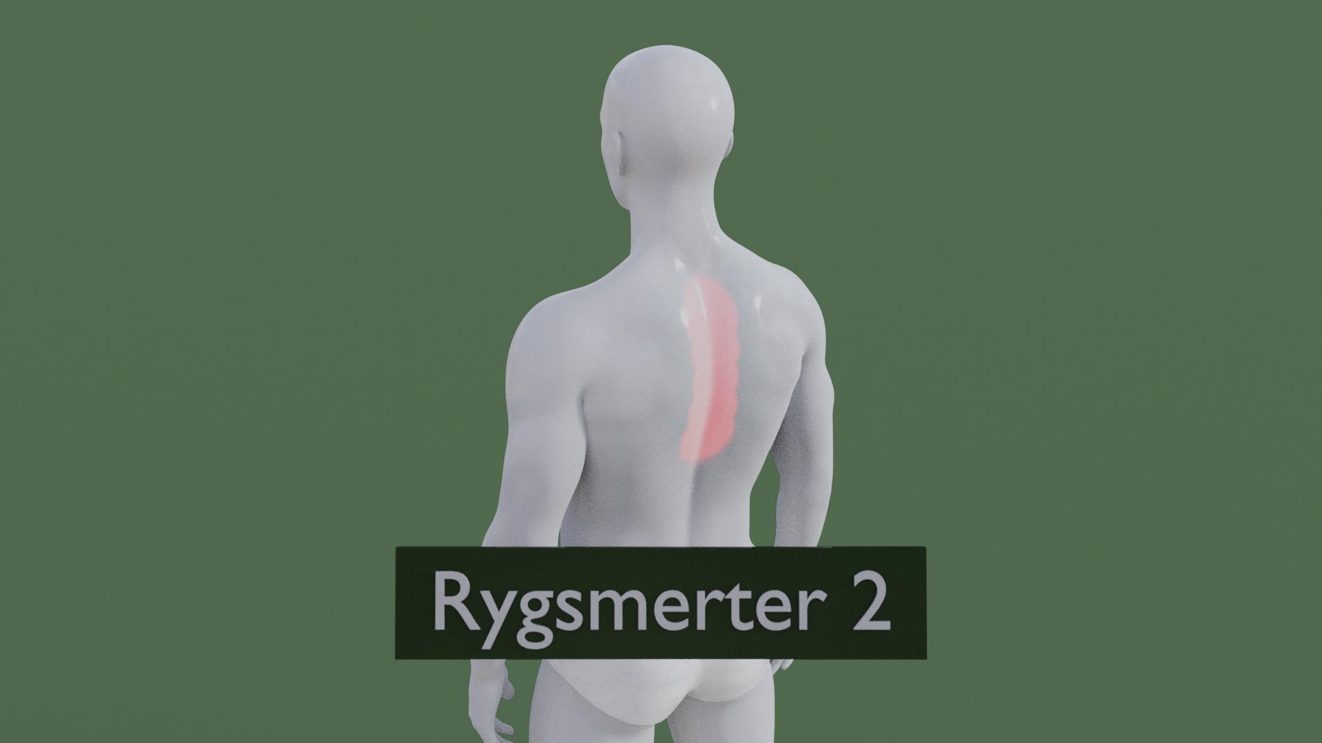 Billedet viser en 3D figur med rygsmerter.