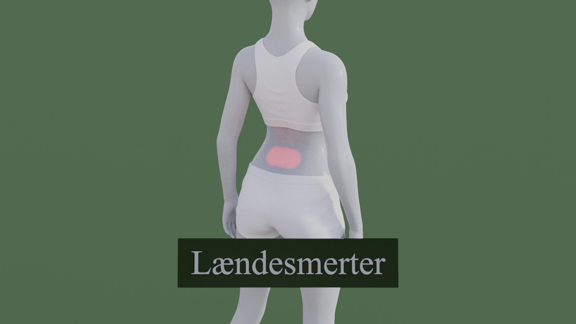 Billedet viser en 3D figur med lændesmerter i L1 of L2.