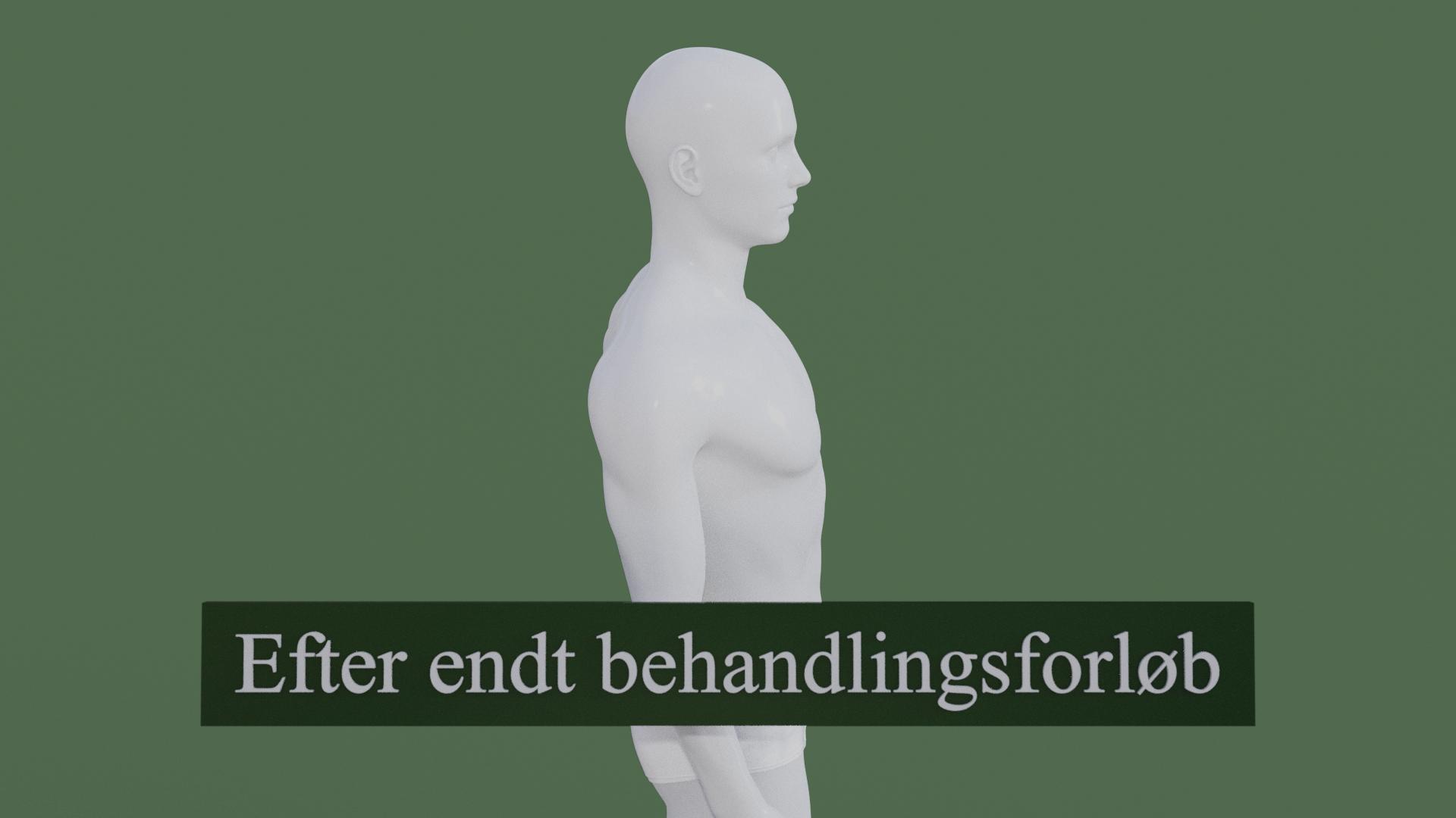 Billedet viser den samme 3D figur, men uden den røde farve i nakken. Hovedet sidder som det skal. 3D figuren er helbredt.