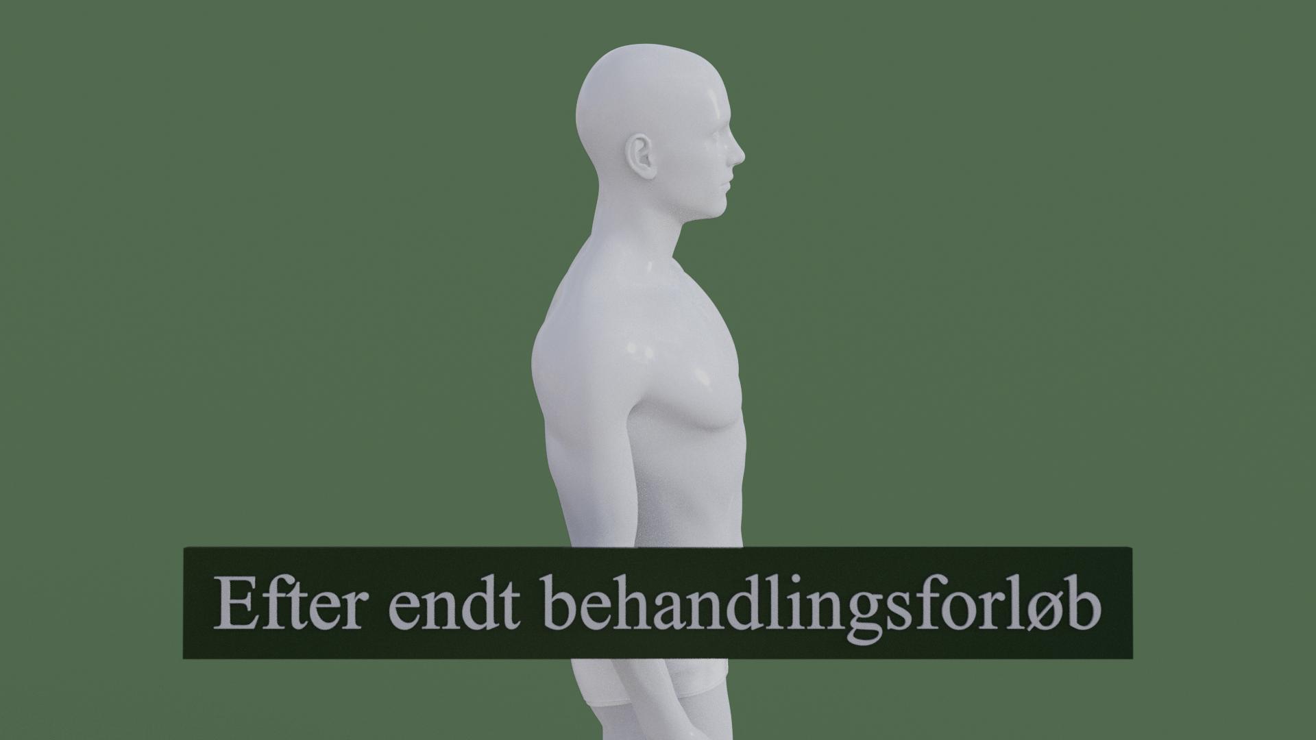 Billedet viser den samme 3D figur, men uden den røde farve i nakken. 3D figuren er helbredt.