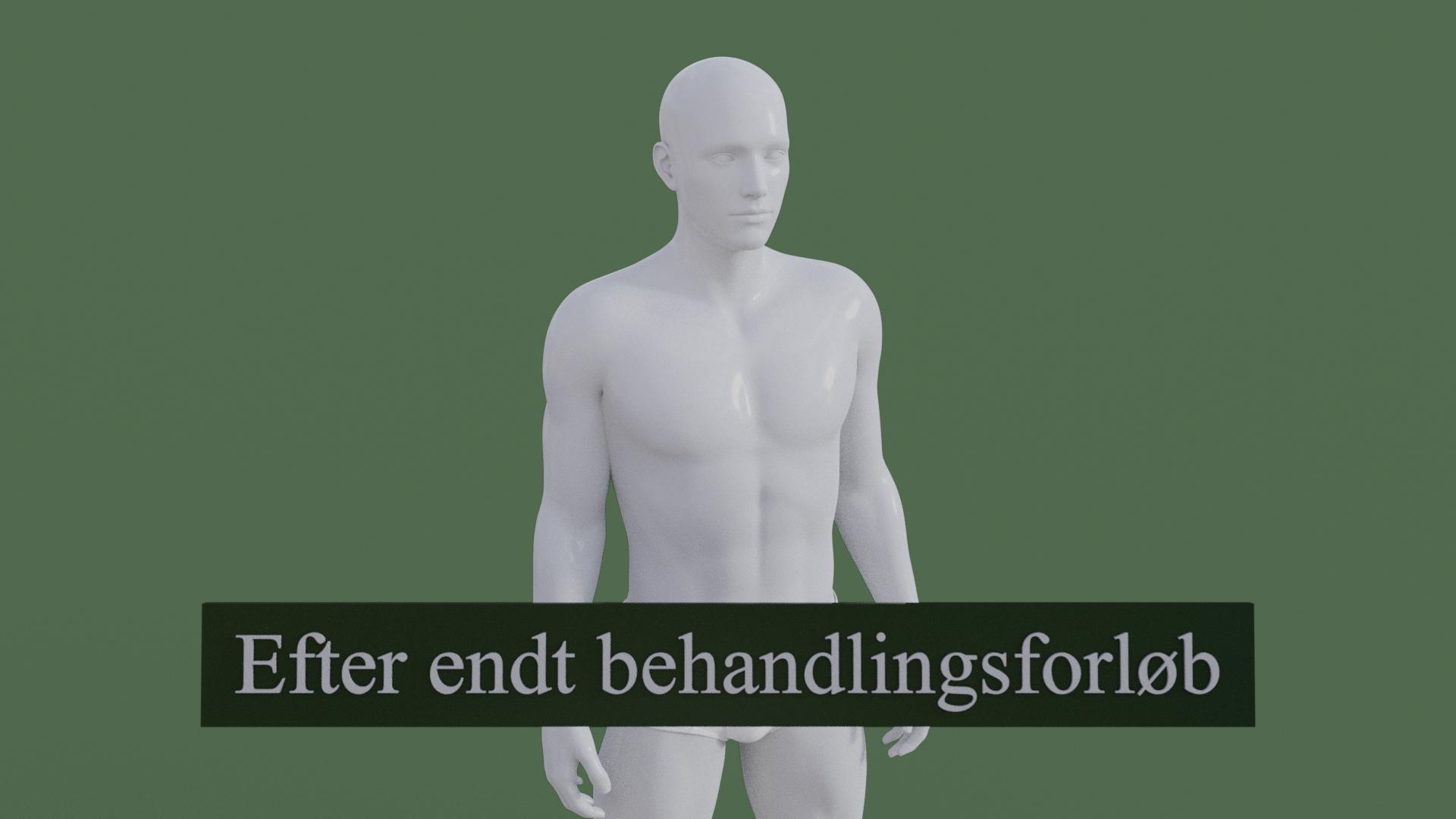 Billedet viser den samme 3D figur, men uden den røde farve på skulderen. 3D figuren er helbredt.