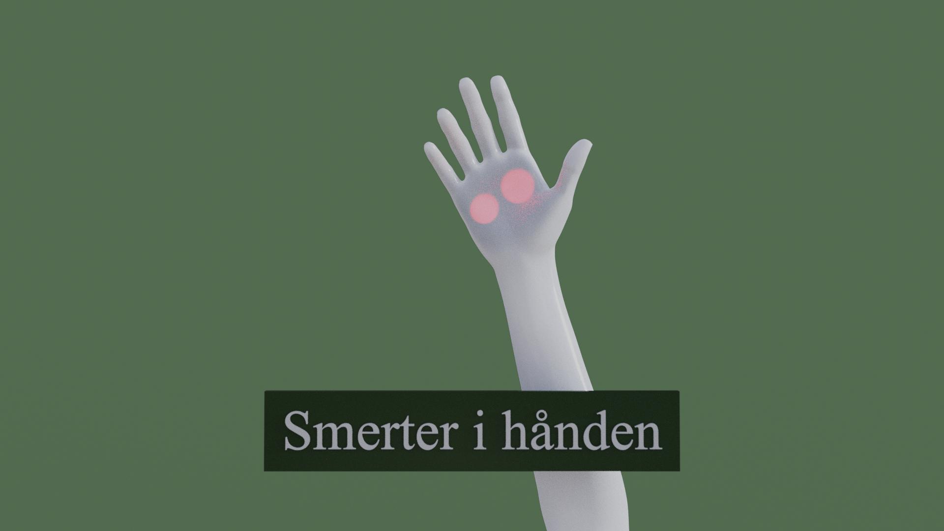 Billedet viser en 3D figur med smerter i hånden. Den røde farve i hånden symboliserer smerterne.