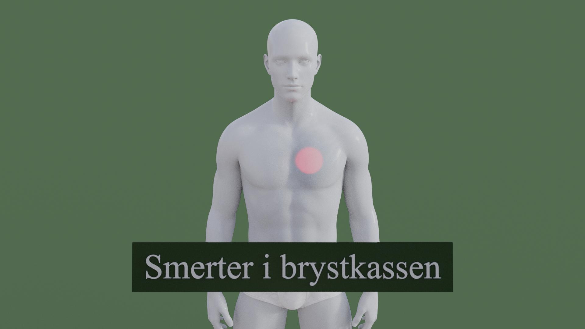 Billedet viser en 3D figur med smerter i brystkassen. Den røde farve på brystkassen symboliserer smerterne.
