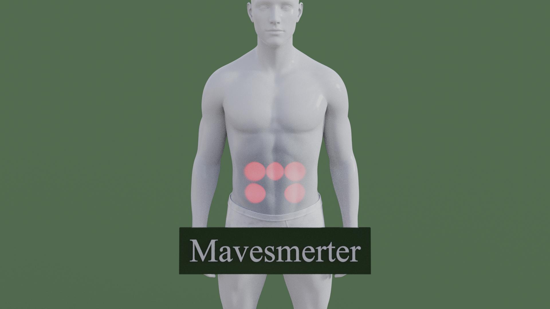 Billedet viser en 3D figur med smerter i maven. Den røde farve på maven symboliserer smerterne.
