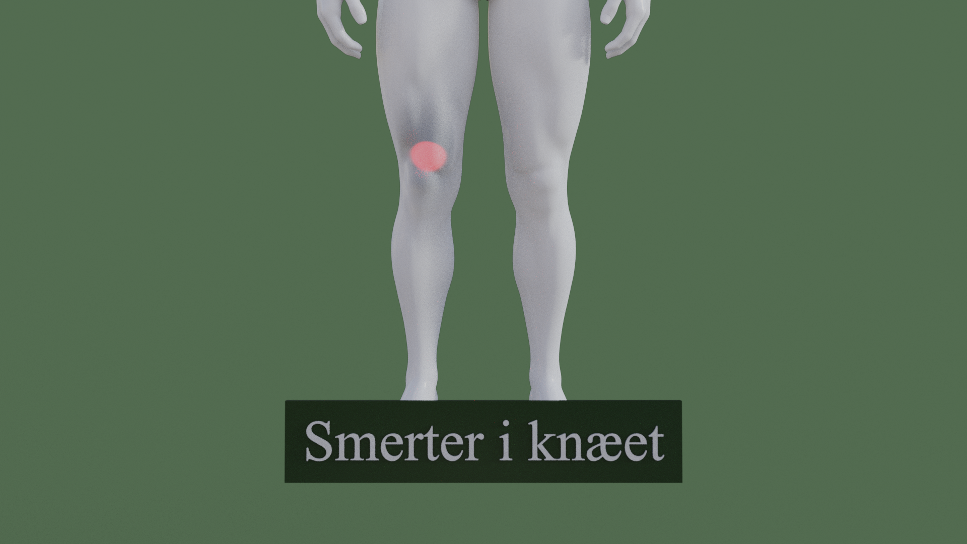 Billedet viser en 3D figur med smerter over knæet. Den røde farve over knæet symboliserer smerterne.