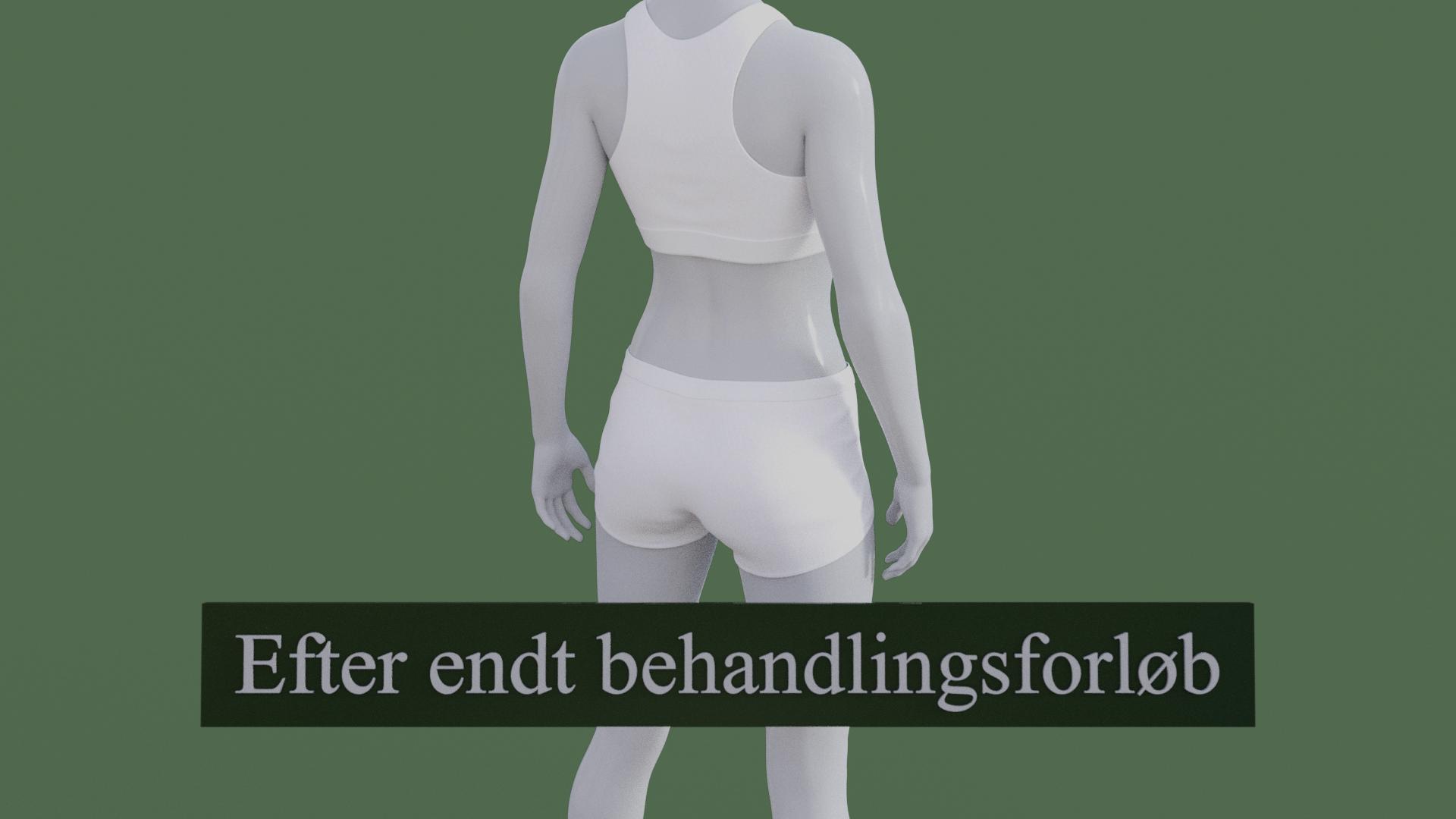 Billedet viser den samme 3D figur, men uden lændesmerter. 3D figuren er helbredt.