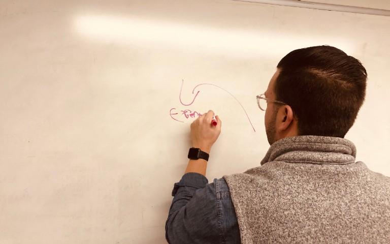 Man drawing on whiteboard