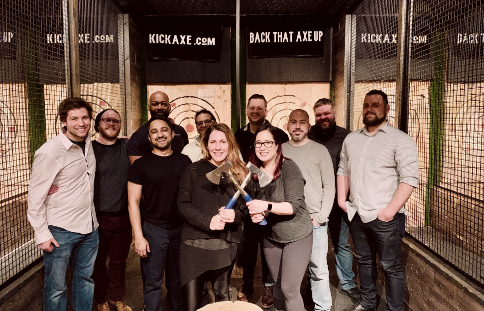 Axe throwing team outing picture
