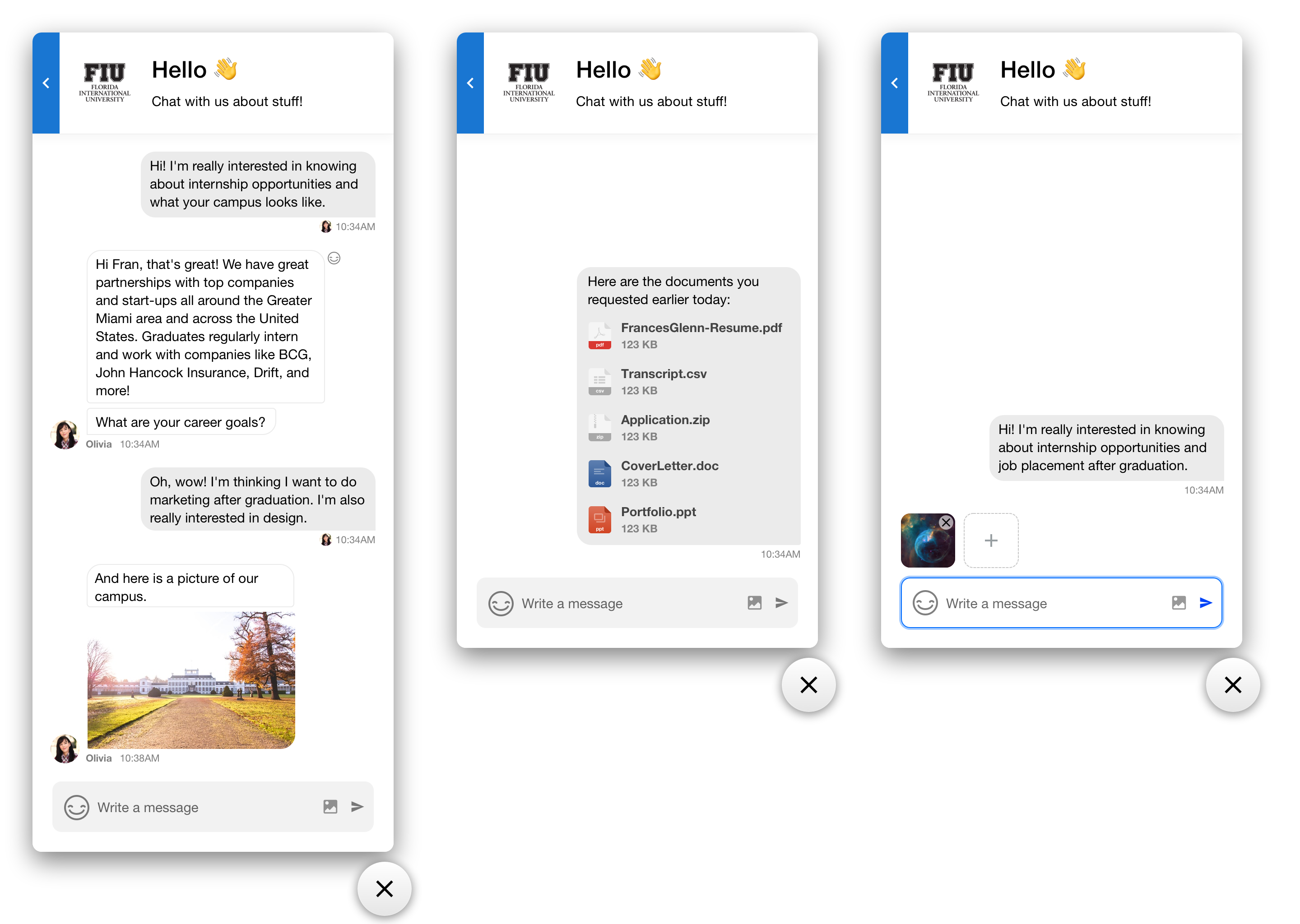 The chat feature of VisitDays showing how to use this feature to engage audiences.