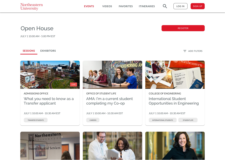 Northeastern University hosting an Open House using VisitDays