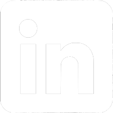 LinkedIn white logo, link to platform
