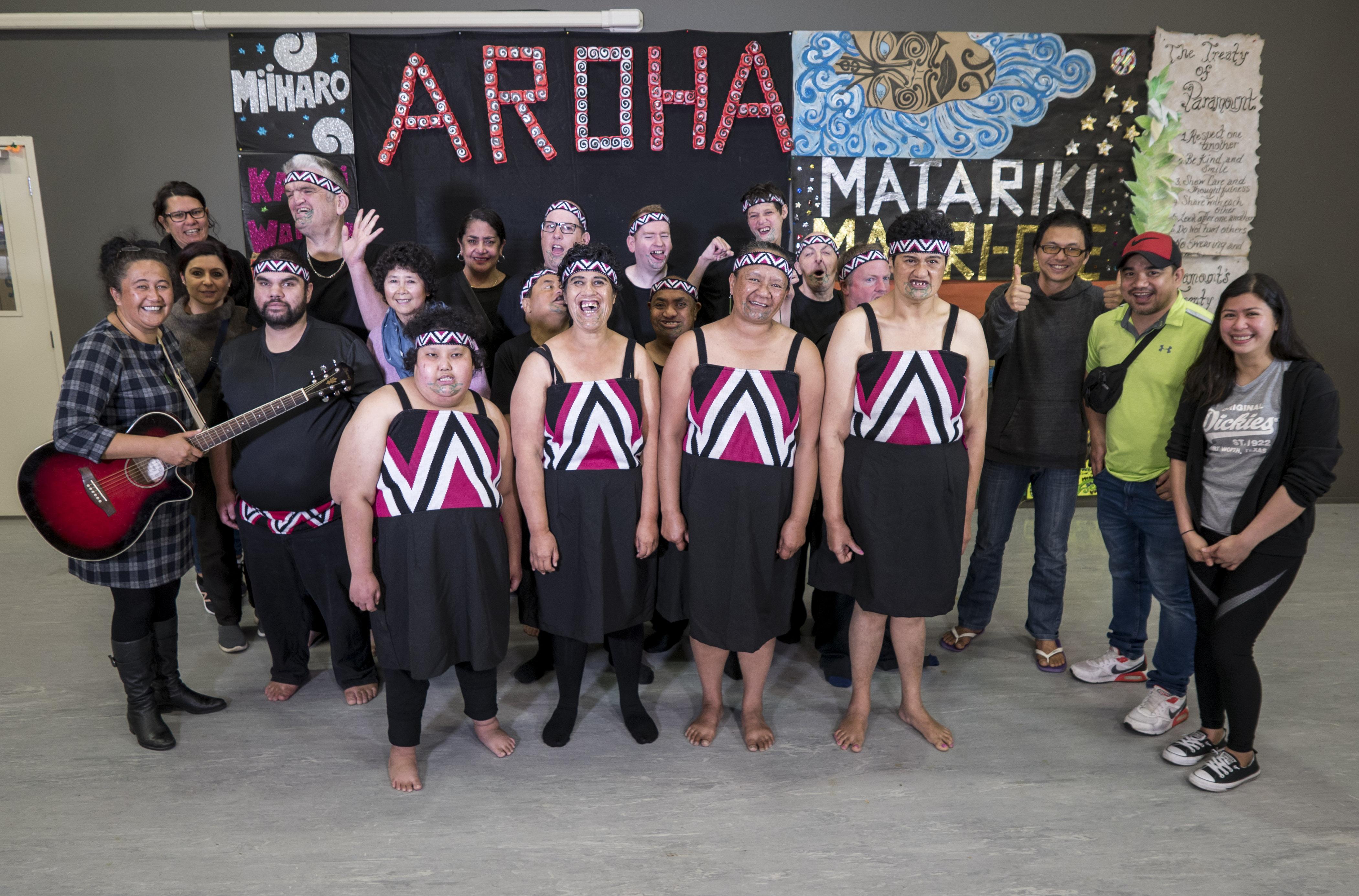 Te Rakipae Whenua Kapahaka Roopu from North Shore at the recording of their festival performance.