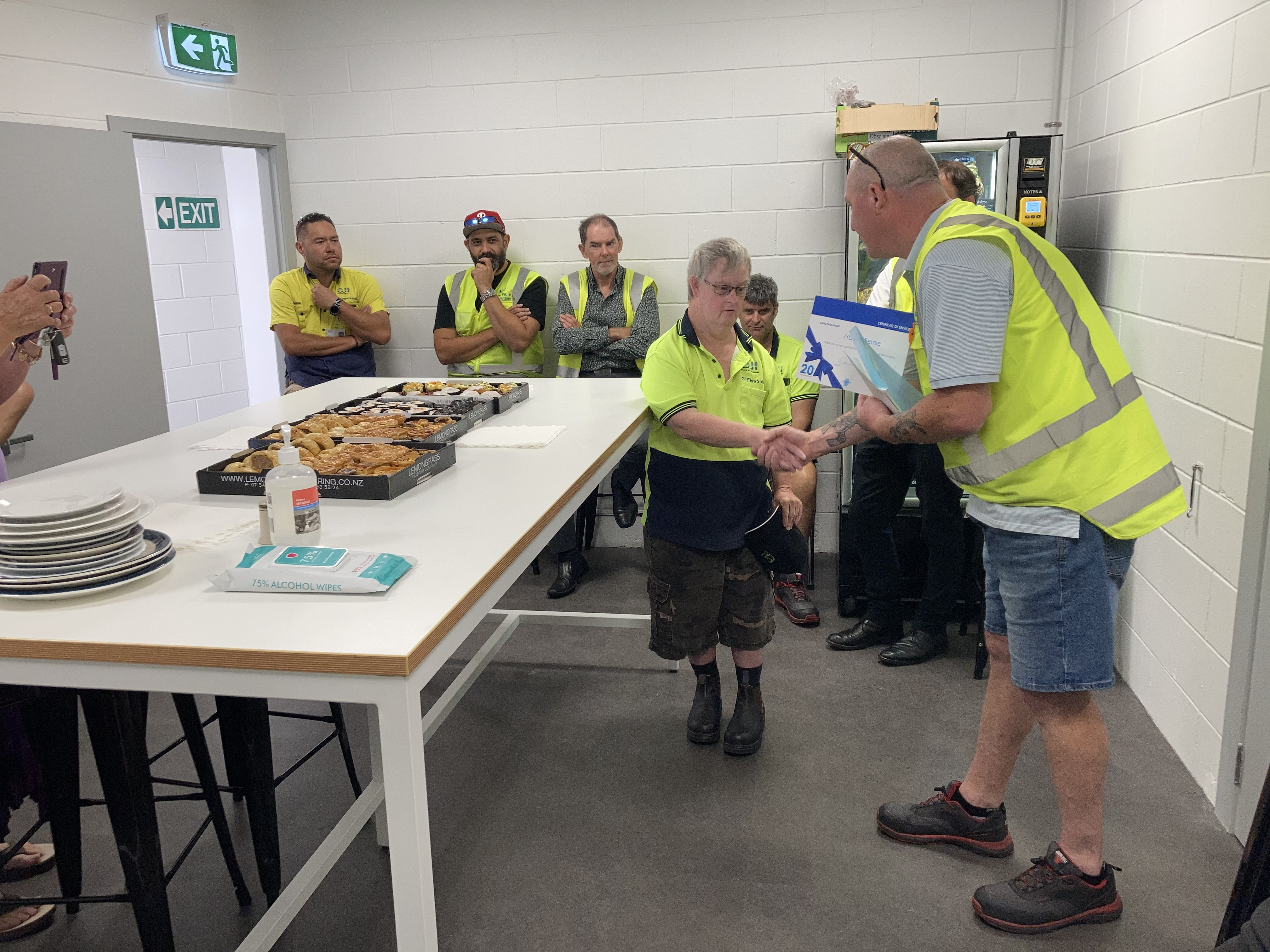 Francis Bernie was recently honoured for his long and loyal service at OJI Fibre Solutions (formerly Carter Holt Harvey Packaging) in Mount Maunganui.
