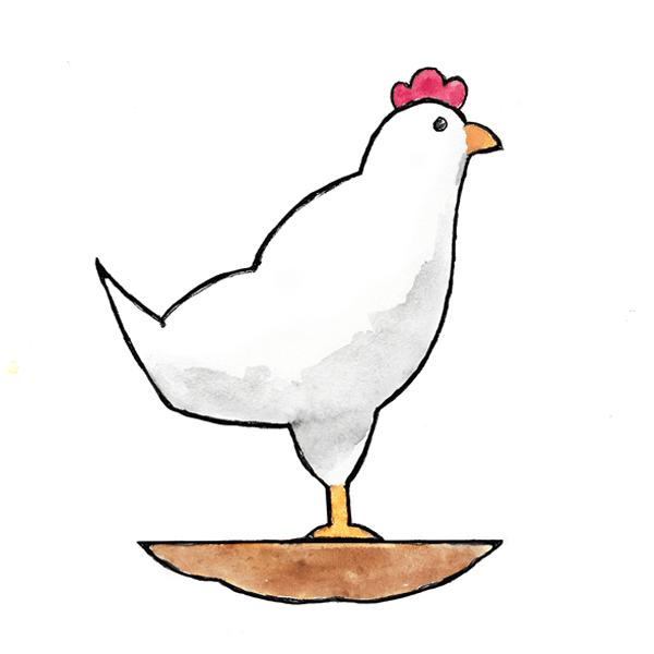Illustration of a chicken atop organic fertilizer representing no-till farming.