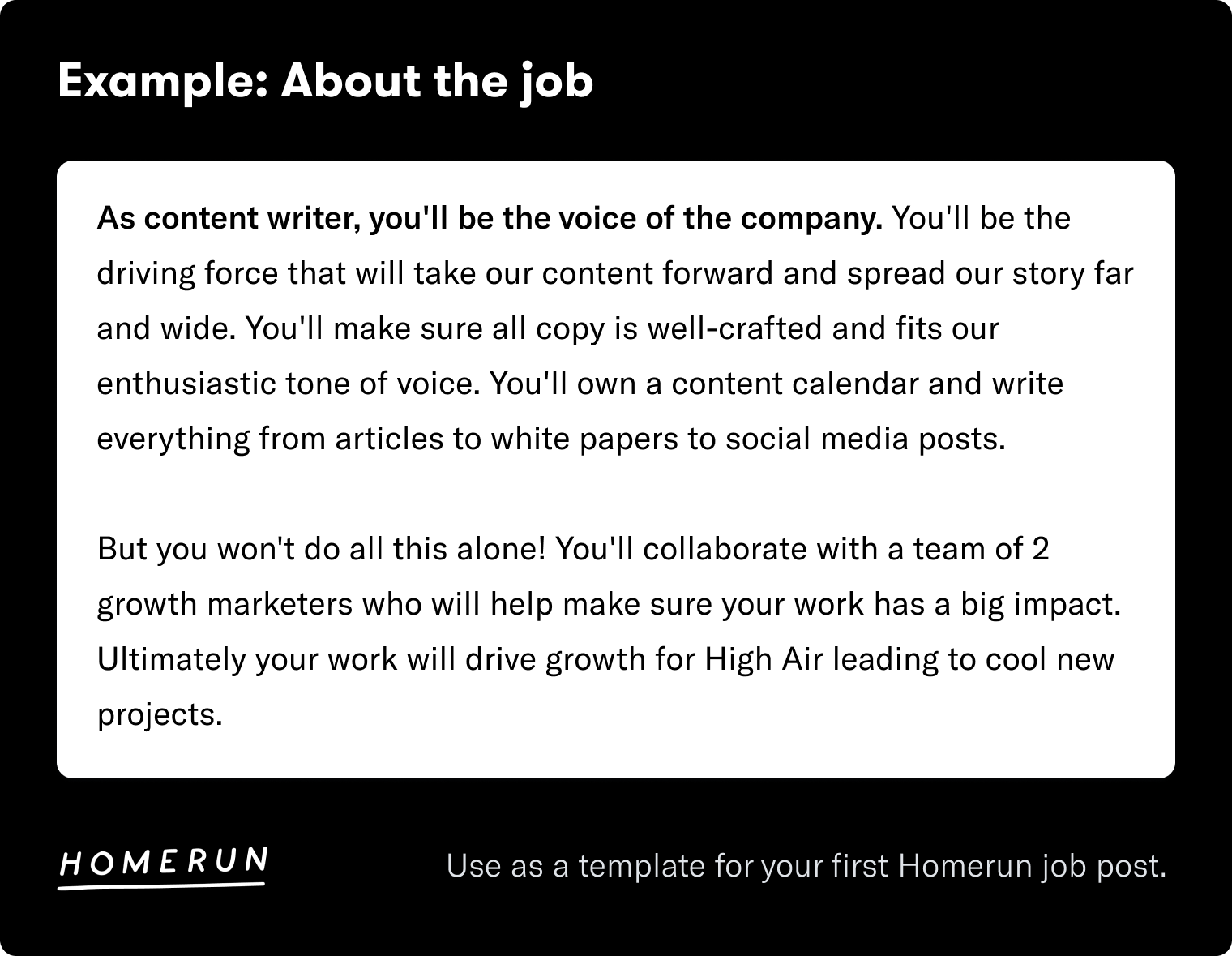 Example about the job, job description template