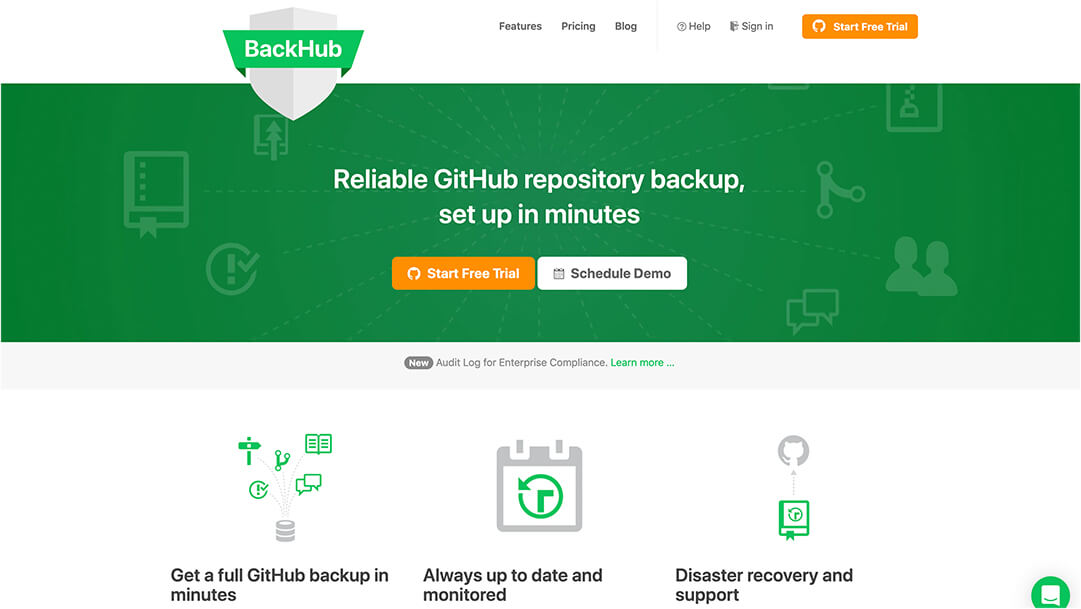 Screenshot Backhub Website Homepage
