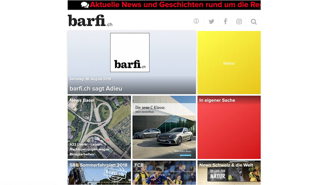 Screenshot Barfi Archiv Website Homepage