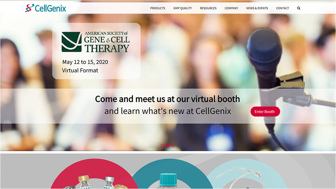 Screenshot Cellgenix Website Homepage