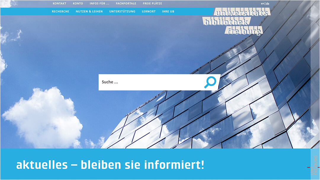 Screenshot Universität Freiburg Bibliothek Website Homepage