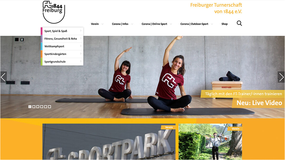 Screenshot FT1844 Freiburg Website Homepage