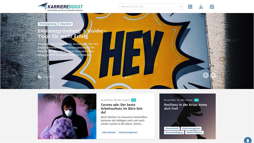 Screenshot Haufe Karriereboost Website Homepage