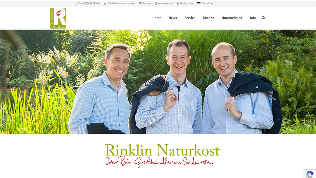 Screenshot Rinklin Naturkost Website Homepage