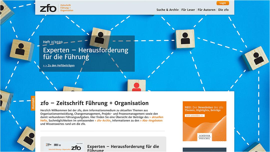 Screenshot zfo.de Zeitschrift Führung + Organisation Website Homepage