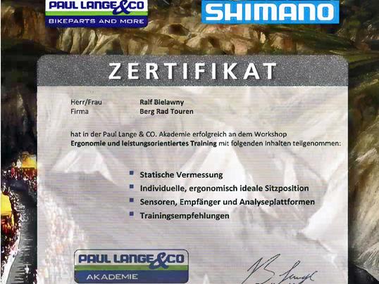Bikefitting Zertifikat