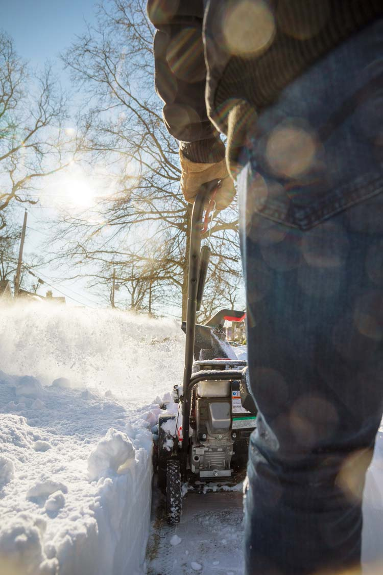 Snowblower in use