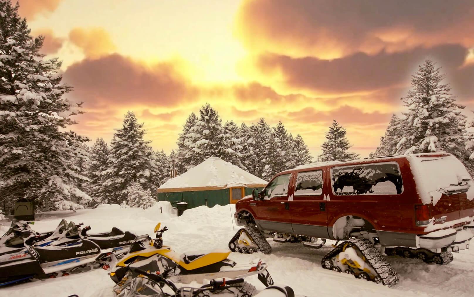 Winter Snowmobiling Avalanche Training Yurt