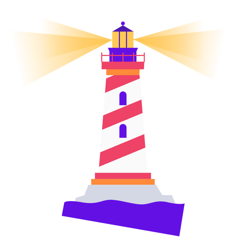 A lighthouse with a bright, shining beacon to guide Candu's product philosophy and team culture.