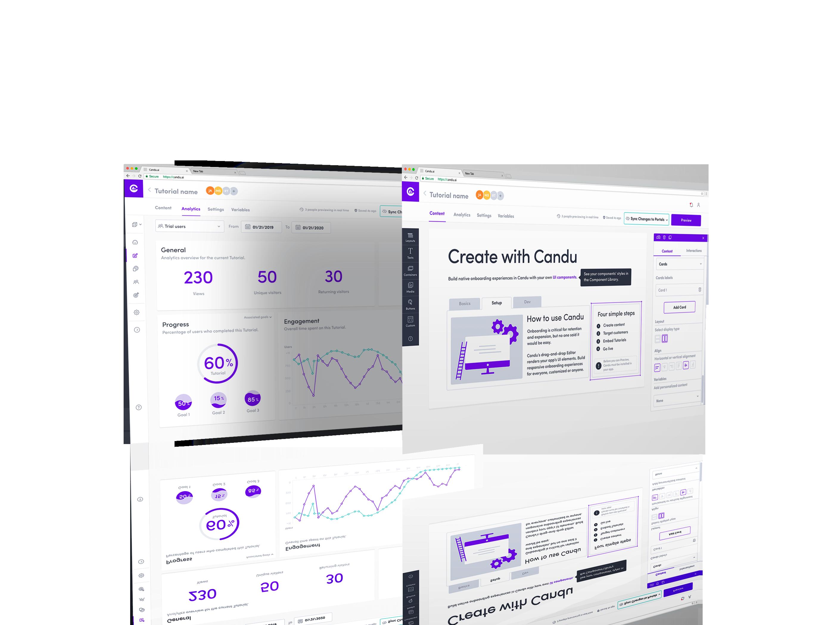Screenshots of Candu's onboarding analytics and customer experience platforms.