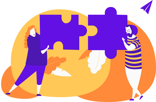 New users activating as they match and connect two giant puzzle pieces.