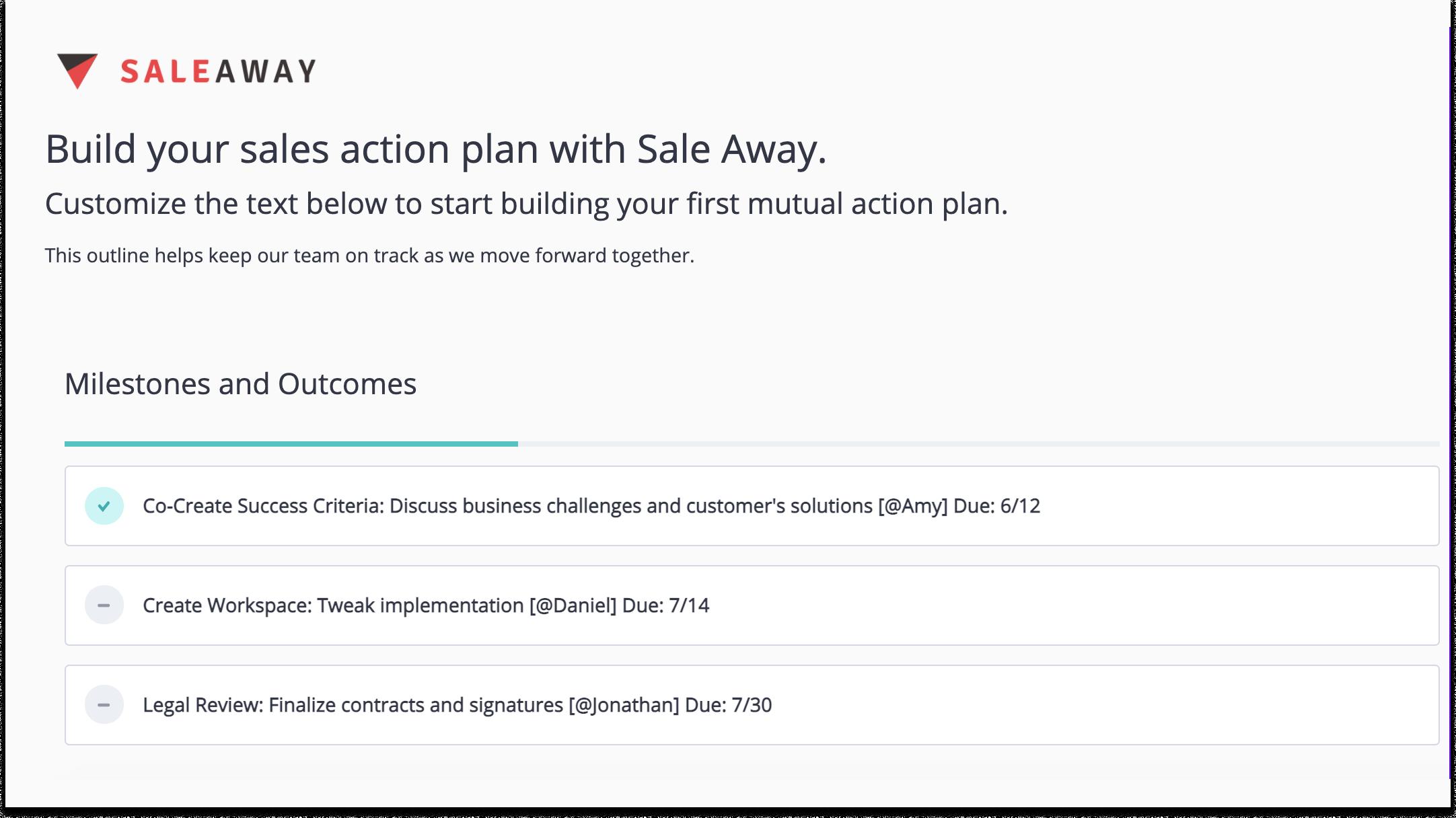 Sales Plan Example Checklist