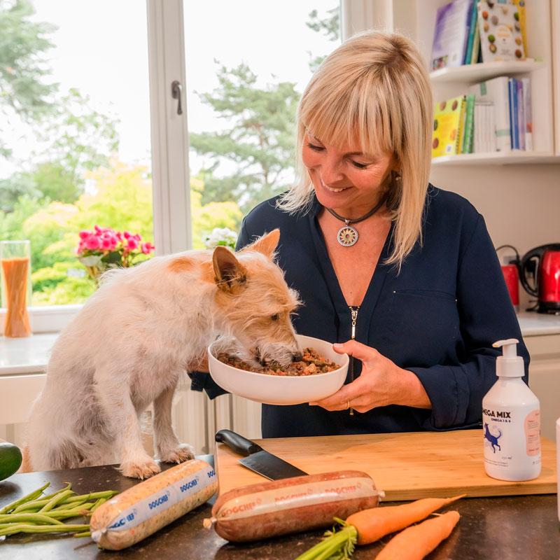 Femme blonde donne à manger, chien mange gamelle Dog Chef
