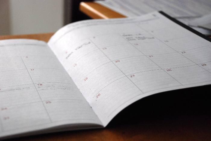 white calendar planner