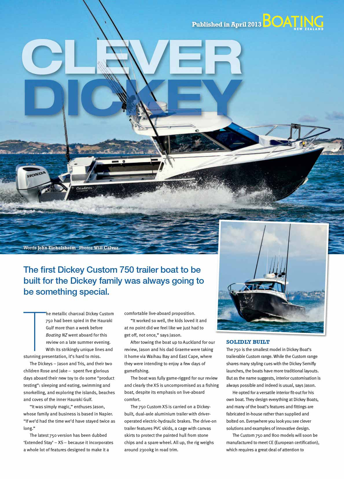 Dickey Custom 750 XS review - Boating New Zealand