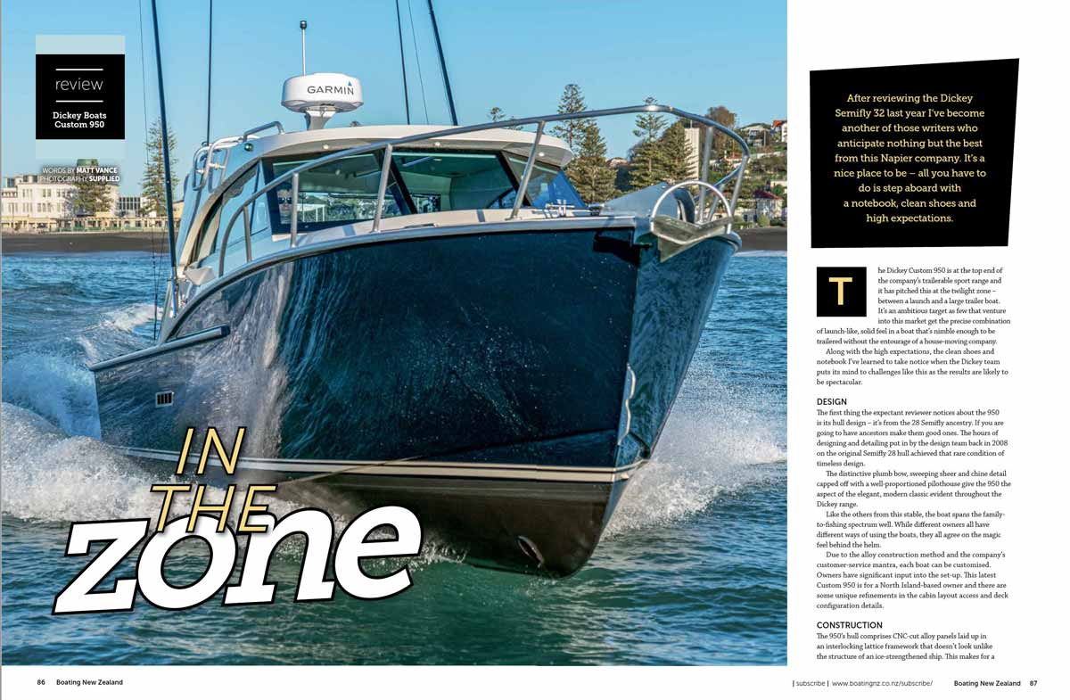 Dickey Custom 950 - Boating NZ - Sept 2020