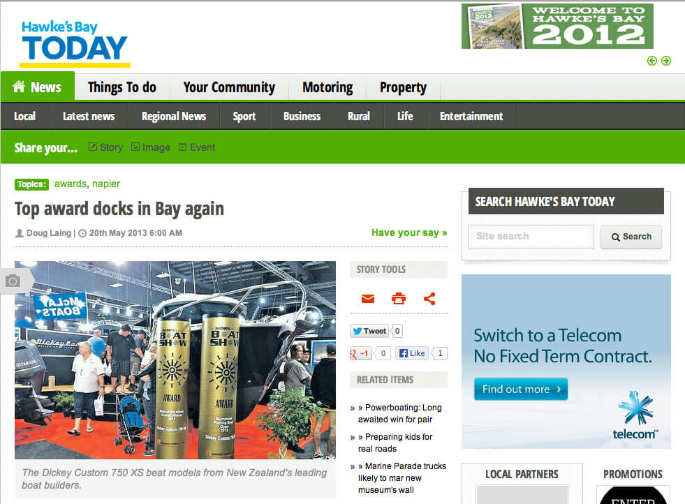 Dickey Boats featured in Hawke's Bay Today