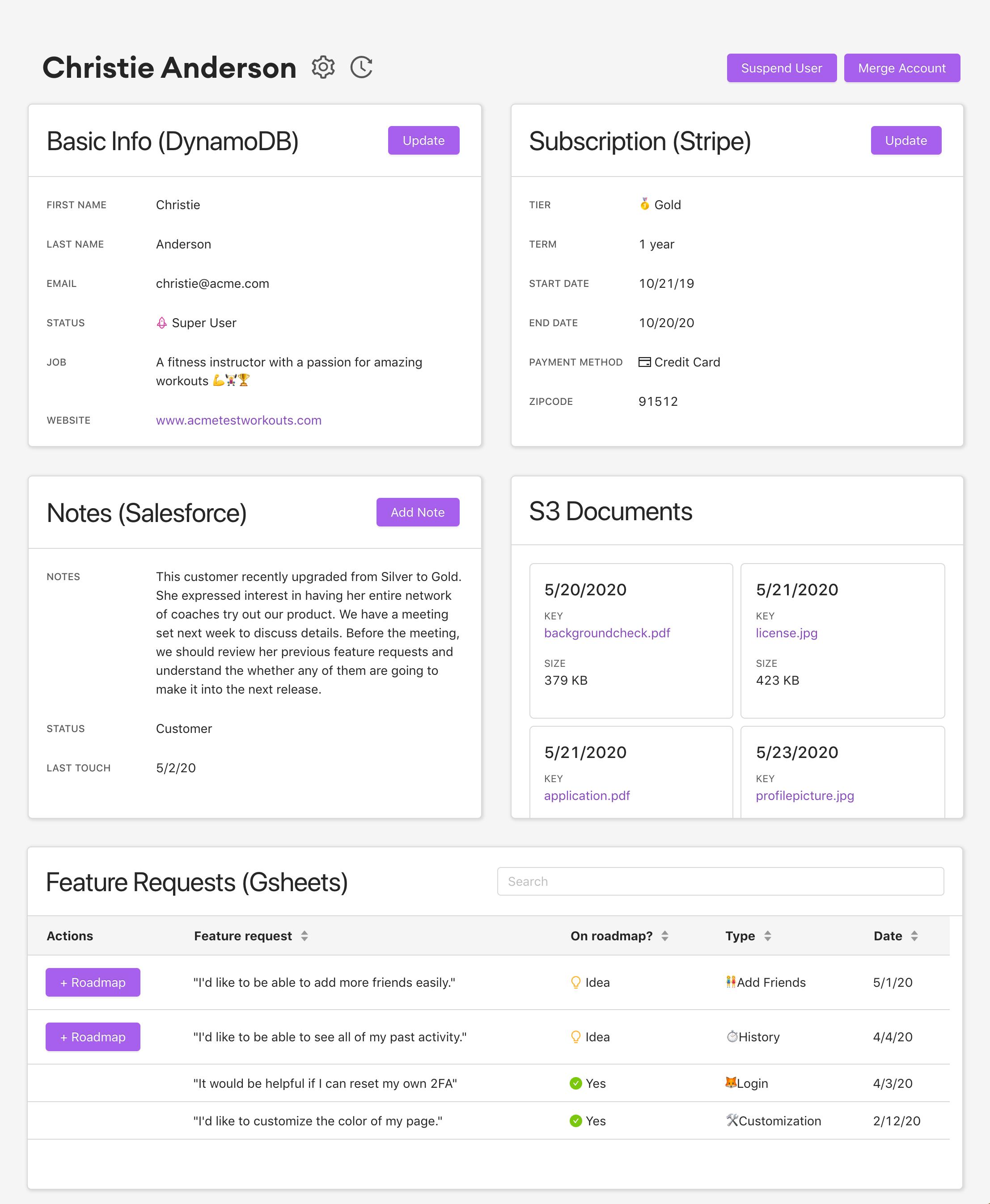 AWS, DynamoDB, S3 Super Record - build any internal tool.