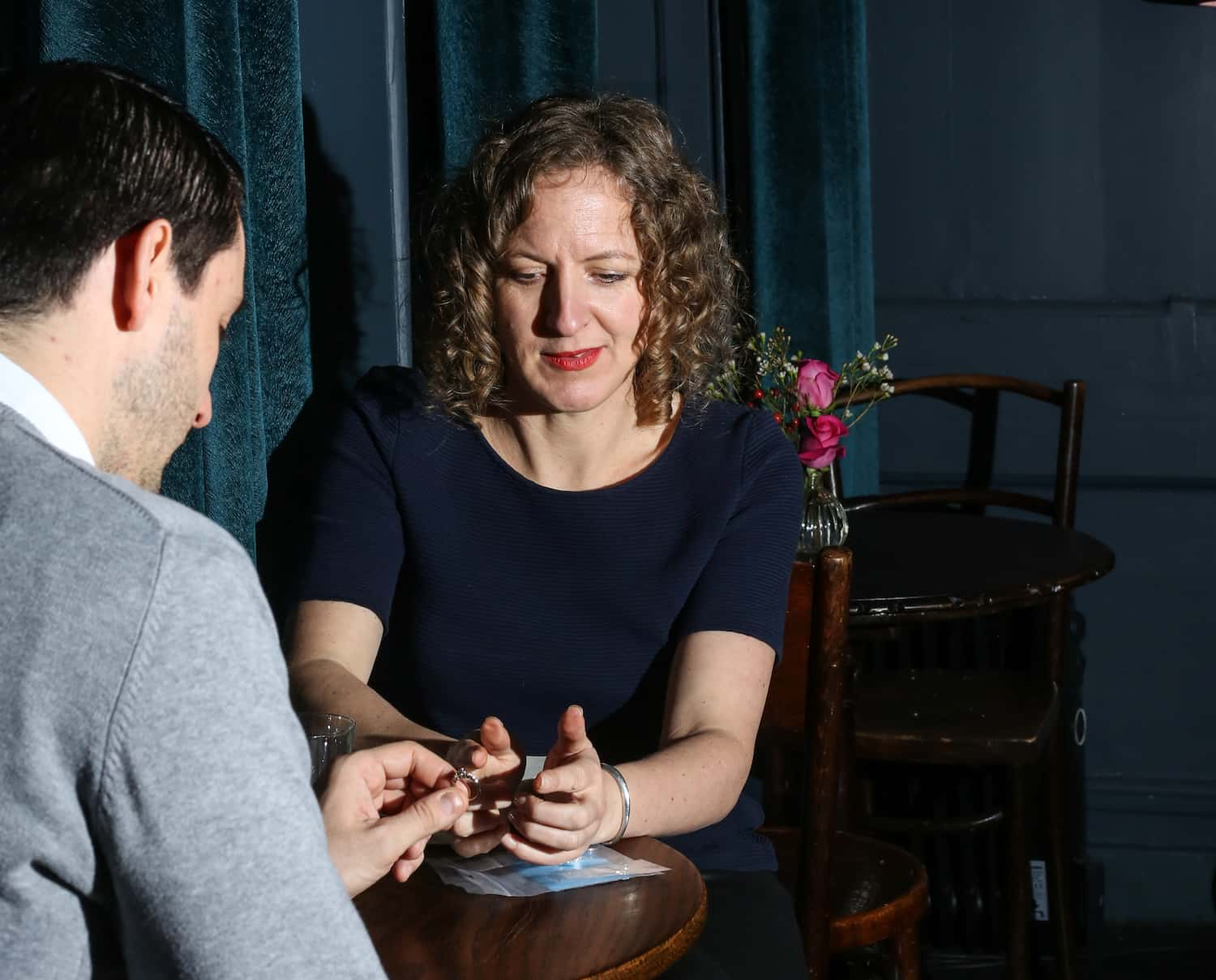 Ruth and a client discussing a ring