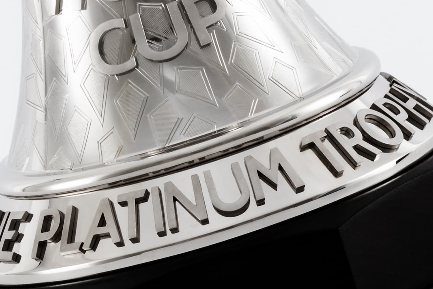Close up of the lettering on the trophy