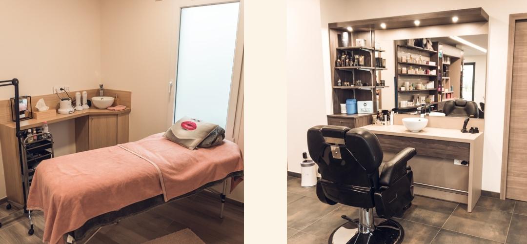 Salon de coiffure, vue sur l'espace bien-être et le coin barbe
