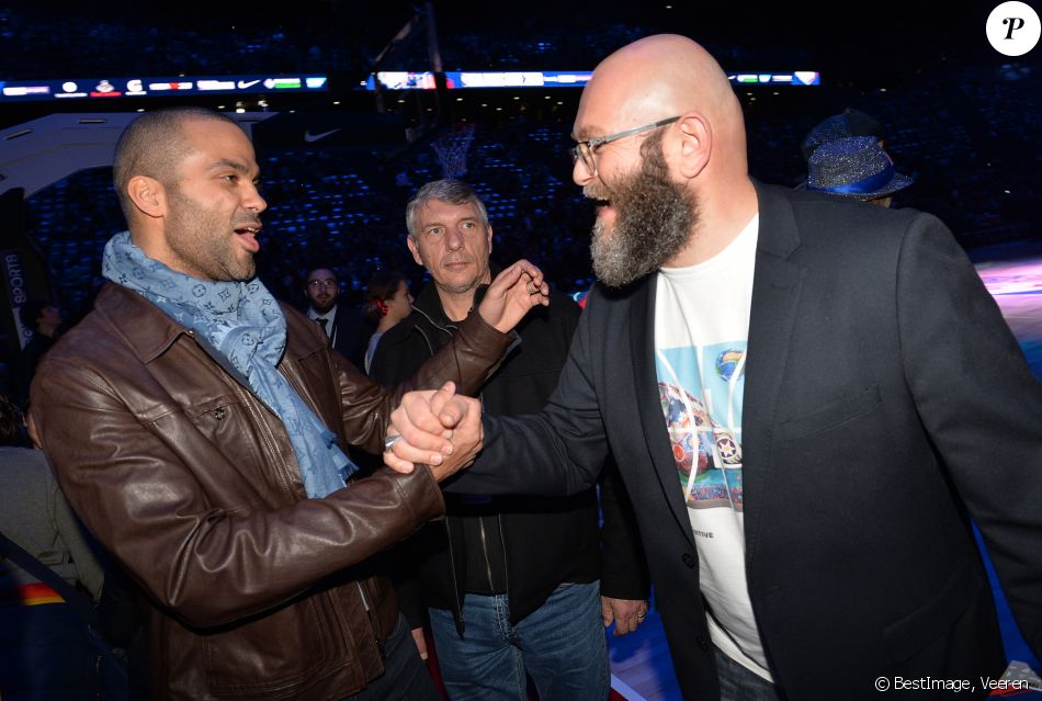 Tony Parker and Darko Peric attend NBA Game Paris 2020, between the Milwaukee Bucks and the Charlotte Hornets at AccorHotels Arena.  Paris, January 24, 2020. © Veeren / Bestimage