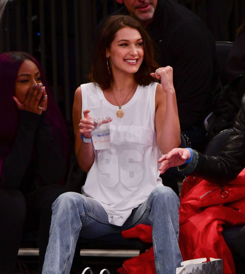 <p>Bella Hadid cheers on at the Lakers v. Knicks game in 2017. </p>