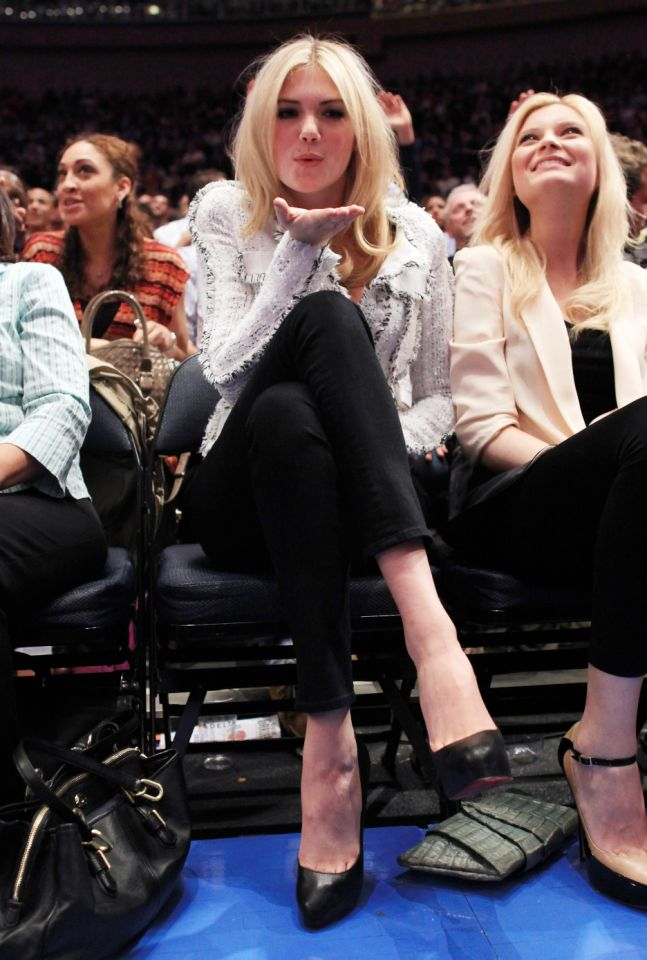 <p>Kate Upton blows a court-side kiss at the Knicks and Clippers game at Madison Square Garden in 2012. </p>